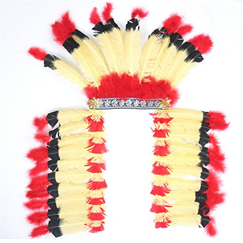 [Lsinyan halloween decorate costume Native American tribal hat oversized colorful feather Chiefs ethnic style] (Festival Street Dance Costume)