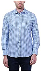 PRIknit Men's Casual Shirt (AF-S3-WBN, White and Blue, 40)