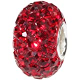 Solid Sterling Silver Core Stunning Swarovski Crystal Bead Pure Color Charm Compatible with Pandora Trollbeads Chamilia Silverado and Biagi Bracelets