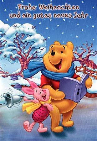 Disney Weihnachtskarte Winnie Pooh & Piglet singen Weihnachtslieder