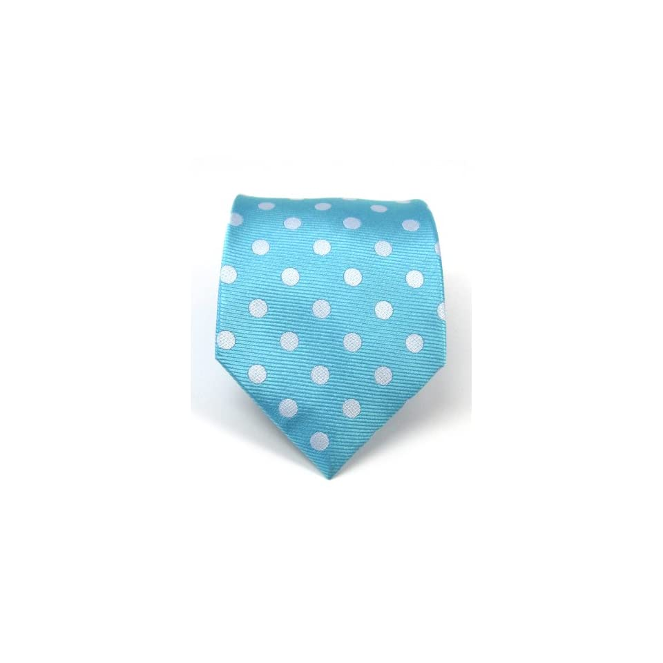 100% Silk Woven Pool Blue Polka Dot Tie