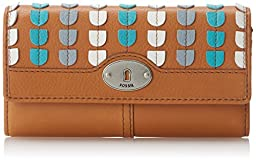 Fossil Marlow Patchwork Flap Wallet, Camel, One Size