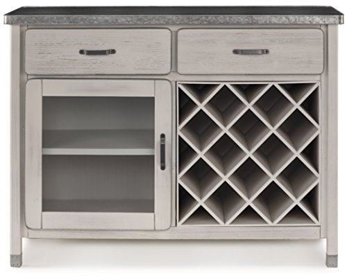 Domus Rustic Country Wine Cabinet White Antique with Glass Door ...