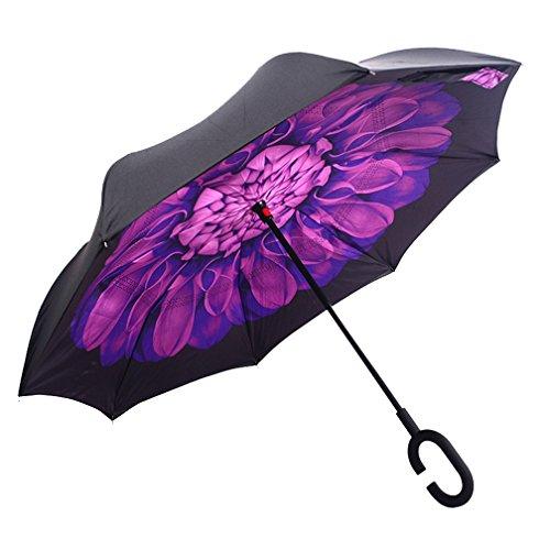 dolirox® Winddicht Rückseite zusammenklappbar Double Layer seitenverkehrt Regenschirm und selbst stehend Inside Out Regen Schutz Regenschirm mit C-förmigem Hände frei Griff, Best Verwendung für Reisen und Auto Balck Purple