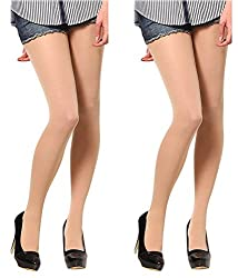 Girls Beige 20D High Waist Pantyhose (Pack of 2) -Free Shipping & COD Available