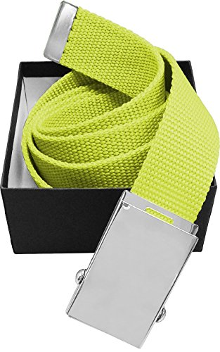 Luna Sosano Canvas Web Military Style Belt - Neon Lime Yellow - 45