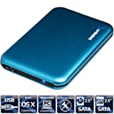 Sabrent Ultra Slim USB 3.0 To 2.5-Inch Sata Aluminum Screwless Hard Drive Enclosure Blue (EC-RDBL)