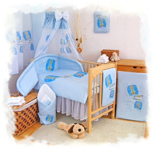 "3 pcs BABY COT BED BUNDLE BEDDING SET DUVET+PILLOW COVERS + BUMPER matching cot bed 120 x 150 cm (47"" x 59"")) Blue 1"