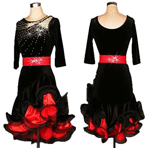 FERE8890 Women's Dancewear Competition Dancing Latin Practice Sexy Sequin Rhinestone Belt Sequin Dress Black (Dance Worship Costumes)