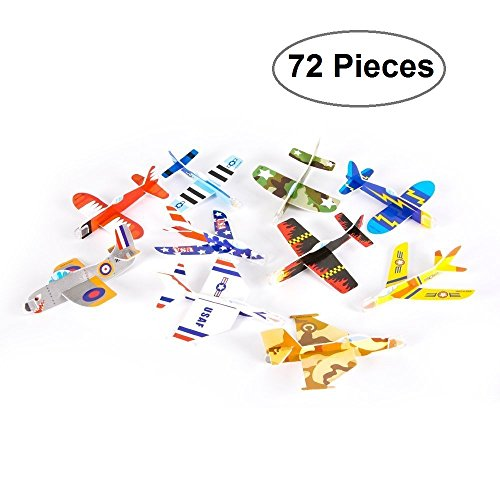 Foam Glider Plane Toy Set - 5 Inch, Assorted Pack of 72 - For Parties, Kids, Decoration, Gifts, Outdoors, and Other Events - Kidsco (British Statue compare prices)