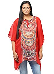 Grain Red Polyster Silver Chiffon Printed Top