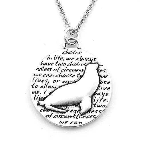 Kevin N Anna Sea Lion (Choice quote) Sterling Silver Large Pendant Necklace