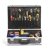 aluminium electricians joiners tradesmans toolbox tool storage box flight case black