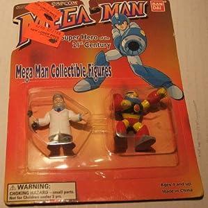 "1995 Mega Man Collectible Figures 2"" Tall : Gutsman and Dr Light"