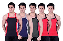 Zimfit Superb Gym Vests - Pack of 5 (BLK_BLU_GRN_RED_RED_90)