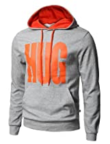 H2H Mens Basic Cotton Hoodies with Text Printed GRAY Asia XL (JNSK18)