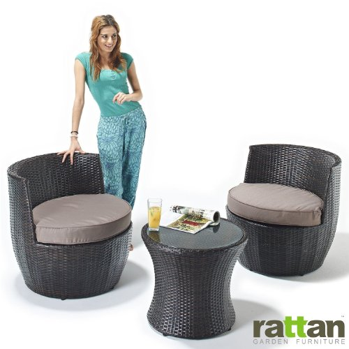 Rattan Garden Furniture Table and Chair Stacking Set - Ideal Conservatory or Patio Seating