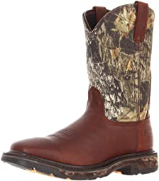 Ariat Men\'s Workhog Wide Square Toe H2O Work Boot,Oiled Brown/Mossy Oak,8.5 M US