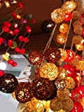 2 Set of Lighting String 20 Rattan Balls Lights Set Hanging Lamp Mixed Colors Decoration Patio, Home Living Room Yard & Garden for Birthday, Christmas, Wedding, New Year Party Indoor and Outdoor