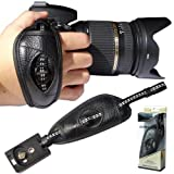 First2savvv OSH0601 High Visibility Reflective Professional Wrist Grip black genuine leather hand Strap for Canon PowerShot SX40 HS EOS 60Da EOS 5D Mark III EOS 650D EOS 400D