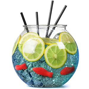 Plastic Cocktail Fish Bowl 3ltr / 18.5cm - Single | bar@drinkstuff Party Fishbowl | Diameter: 185mm | Non-Decorative Clear Fishbowl (Props not included: Fish, Straws, Ice and Lemon Slice)
