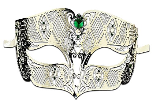 Luxury Mask Diamond Design Laser Cut Venetian Masquerade Mask, Silver/Green Stones, One Size