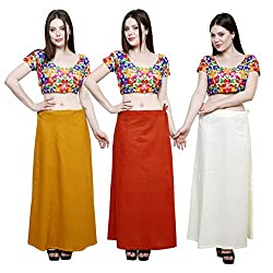 Pistaa combo of Women's Soft Cotton Mustered, Mango and Cream Color Best Readymade Inskirt Saree petticoats