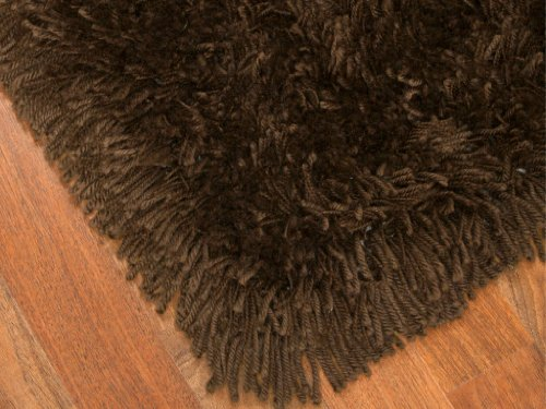 """""""Euro"""" Shag Rug 5' x 8' - Espresso, Soft and Extra Thick Twisted Acrylic Yarn, Hand Tufted, Cotton Backing"""