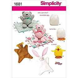 Simplicity 1681 Bear Blanket/Animal Blanket Chick Toy Sewing Pattern, Size OS (One Size)