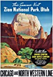T81 Vintage America Zion National Park Utah Grand Canyon Railway Travel Poster Re-Print - A4 (297 x 210mm) 11.7