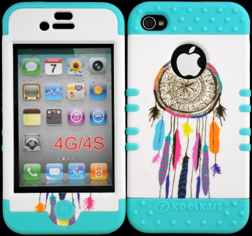 Bumper Case For Iphone 4 4S Dreamcatcher On White Design Hard Plastic Snap On Baby Teal Silicone Gel front-919359