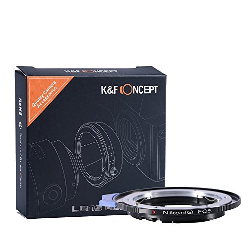 K&F Concept Lens Mount Adapter, Nikon G (D-Type) Lens to Canon EOS Camera, for Canon EOS 1D, 1DS, Mark II, III, IV, 1DC, 1DX, 30D, 40D, 50D, 60D, 70D, 5D, 7D, Rebel T3, T3i, T4i, T5i, SL1, and C300, C500