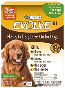 Sergeant's Evolve 61 Flea and Tick Squeeze-On, Dog,Over 60-Pound