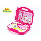Little Treasures Pink Doctor Medical Playset - 11Pc Doc Toy With Carrying Case For Kids Pretend Play Dr Nurse