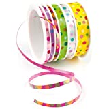 Spring Patterned Curling Ribbon 6 x 4.5m Designs 3 Different Widths for Childrens Craft Decorations (Per pack)