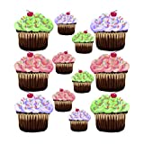 Pink Purple Green 12 Cute Cupcakes Wall Stickers Decals