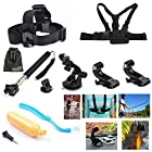 EEEKit 8-in-1 Accessories Kit for Gopro HD Hero 3+/3/2/1 Camera, Head Belt Strap Mount+ Chest Belt Strap Mount+ Extendable Handle Monopod + Car Suction Cup Mount Holder + Floating Handle Grip + 2 PCS Tripod Mount Adapter+2 PCS Gopro Surface J-Hook+EEEKit Pouch