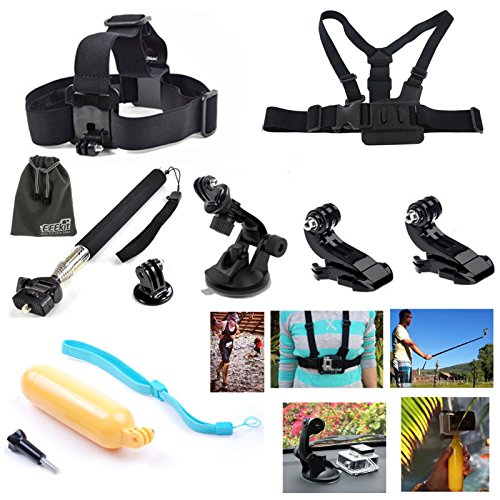 EEEKit Accessories Starter Kit for All GoPro HERO 4 3+ 3 2 1 Session LCD Black Silver. Selfie Pole, Car Mount, Head/Chest Strap