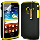 ONX3 Samsung Galaxy Ace Plus S7500 Yellow Hybrid/Silicone COMBO PACK Case Skin Cover + LCD Screen Protector Guard
