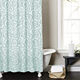 Lush Decor Stella Shower Curtain, 72 by 72-Inch, Aqua