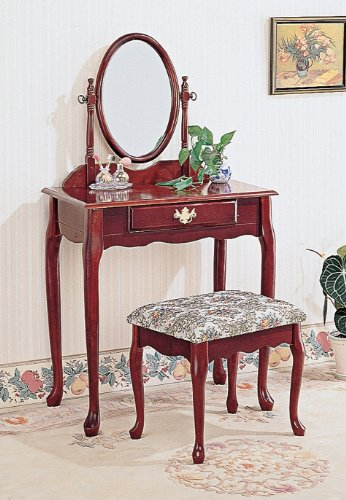 Two Piece Vanity Set with Queen Anne Design Rich Cherry Finish