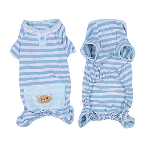 Pet Dog Cat Pajamas with Stripe and Bear Design, Adorable Winter PJS Coat Jumpsuit for Small and Medium Sized Dog Puppy Cat Kitten,2 Color and 4 Size Available(Blue,M) (Dog Jumpsuit Winter With Feet compare prices)