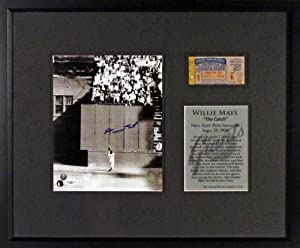 Willie Mays Autograph Signed 8x10 Photo with Game Day Ticket Framed by Sports+Gallery+Authenticated