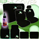 51nW%2B79jQrL. SL160  16 Piece Auto Interior Gift Set   2 Frog Design Front Low Back Universal Size Bucket Seat Covers (in 4 pieces), 2 Head Rest Covers, 1 Frog Logo Rear Seat Cover (in 2 pieces), 1 Steering Wheel Cover, 2 Shoulder Harness Pressure Relief Cover, 2 Carpet Vinyl Frog Logo Front Floor Mats, 2 Plain Black Rear Floor Mats and a 2 oz Purple Slice Car Wash Free Detailer/Multipurpose Cleaner