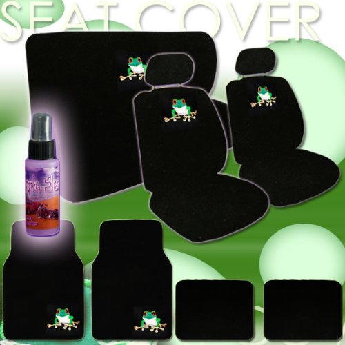 16 Piece Auto Interior Gift Set - 2 Frog Design Front Low Back Universal Size Bucket Seat Covers (In 4 Pieces), 2 Head Rest Covers, 1 Frog Logo Rear Seat Cover (In 2 Pieces), 1 Steering Wheel Cover, 2 Shoulder Harness Pressure Relief Cover, 2 Carpet Vinyl front-454499