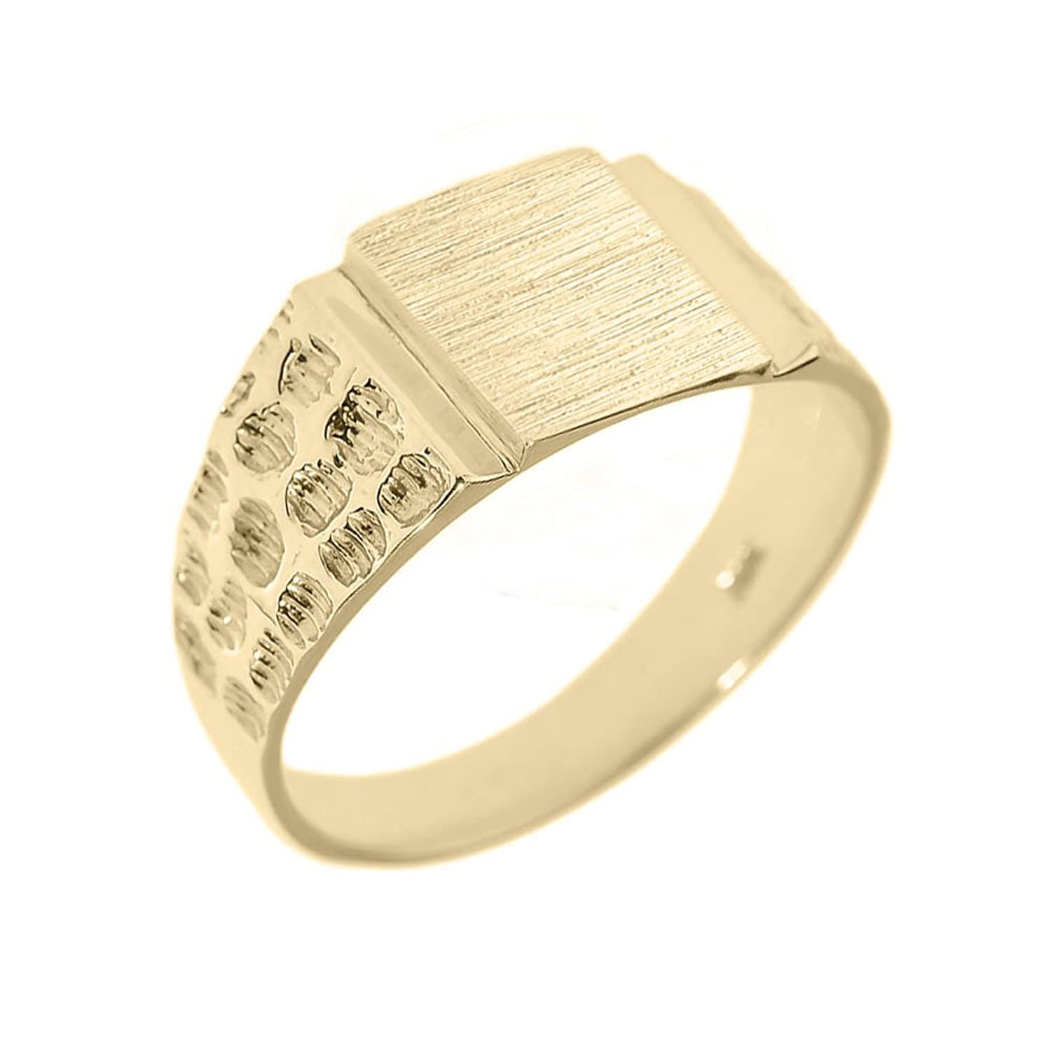 Men's High Polish 14k Yellow Gold Engravable Square Top Nugget Band Signet Ring