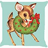 Cushion cover throw pillow case 18 inch retro vintage baby Christmas Santa Claus reindeer flower wreath cute both sides image zipper by giftshop88