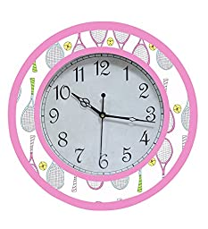 RANGRAGE Designer Handpainted Wooden Decorative Round Kid\'s Wall Clock Colorful Clock Kid\'s Room Home Decoration Badminton
