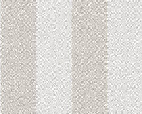A.S. Creation 948342 - Carta da parati Scandinavian Blossum in tessuto non tessuto a righe, colore: Grigio selce/Bianco perla