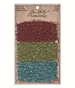Winter Tinsel Twine by Tim Holtz Idea-ology, 2 Yards of Each Color, Polyester, Red, Green, Teal, TH93028